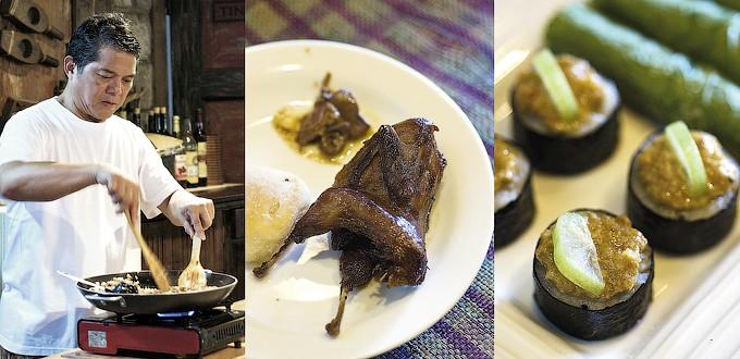 (L-R) Claude Tayag cooking at Bale Dutung, quail adobo and aligue sushi