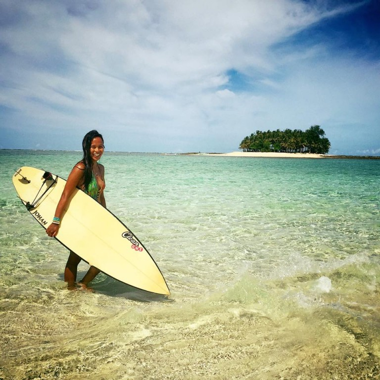 In Union, Siargao, her surf paradise