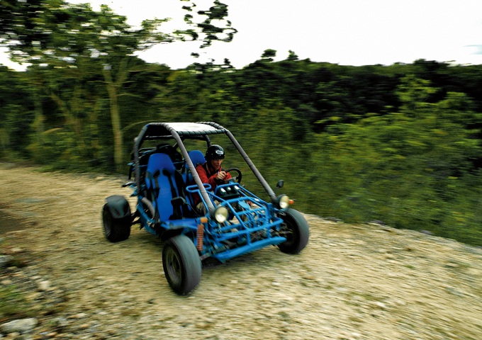 Kicking up dust in a dune buggy