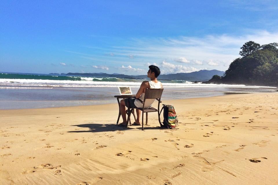 Life is good...Mikael on Sabang Beach