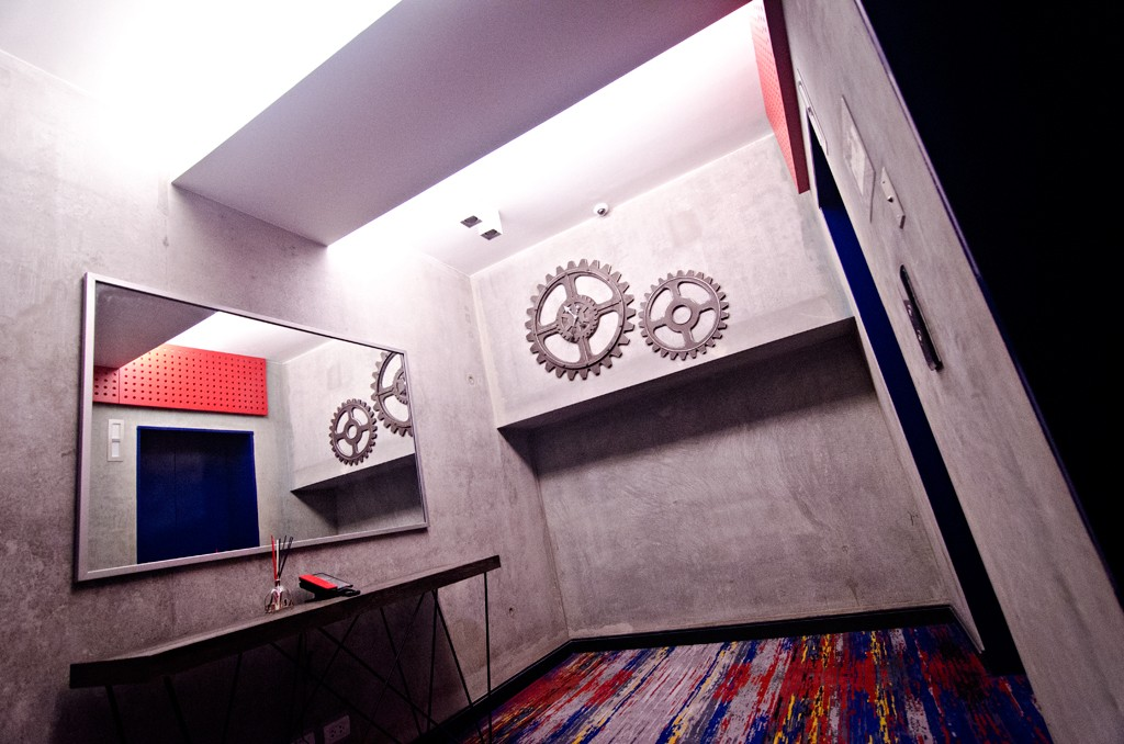 Most of the B Hotel's walls are finished in smooth, unpainted concrete and decorated with industrial motifs