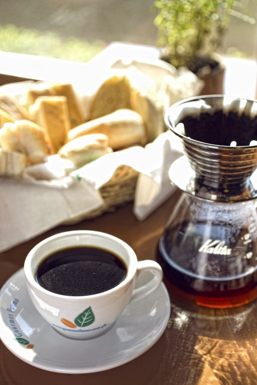 Homemade bread and fresh coffee roasted right within Gourmet Farms in Silang, Cavite