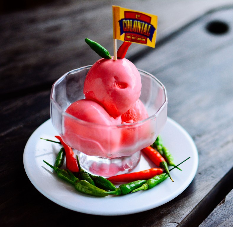 Sili (chilli) ice cream, also available at 1st Colonial Grill