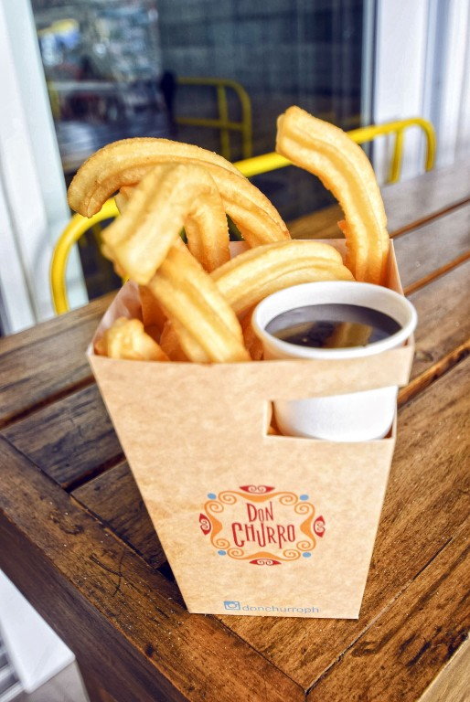 Churros with dark chocolate dip