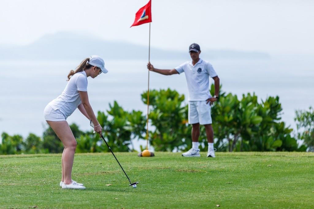 Playing golf, one of the activities Punta Fuego offers