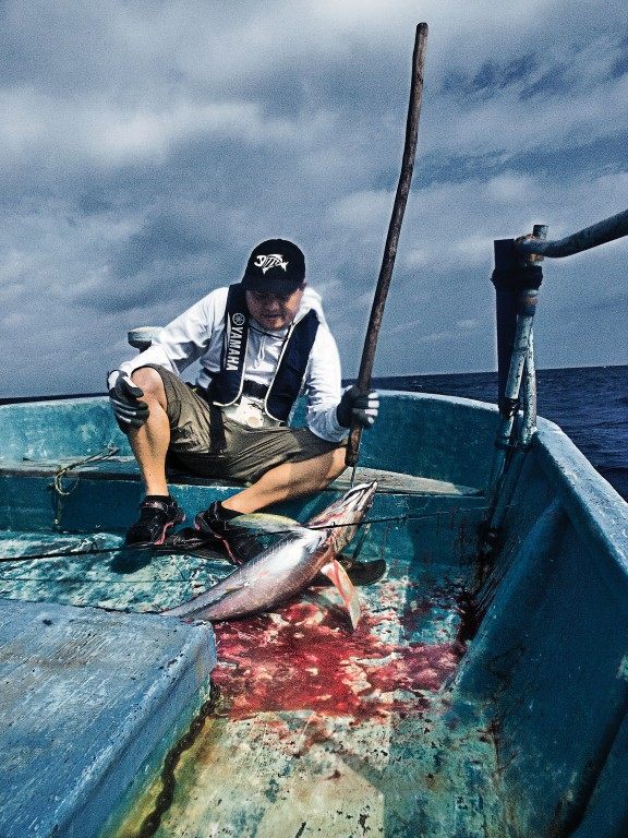 Gordon Uy pulled in a 10kg yellowfin tuna, gutted here to feed four for dinner. You can't get any fresher than this.Photo by Ferdz Decena