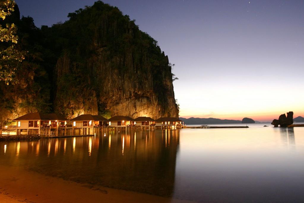 Lagen Island Resort at dusk
