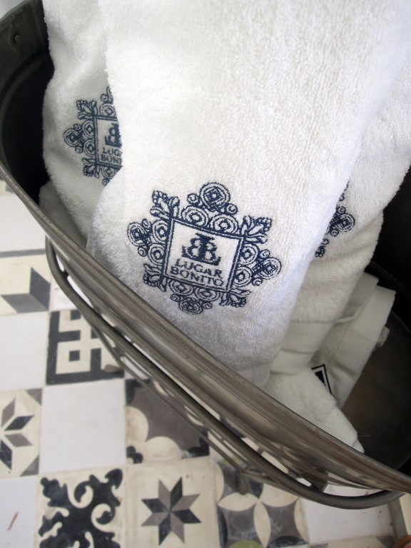 Towels embroidered with the hotel's beautiful logo