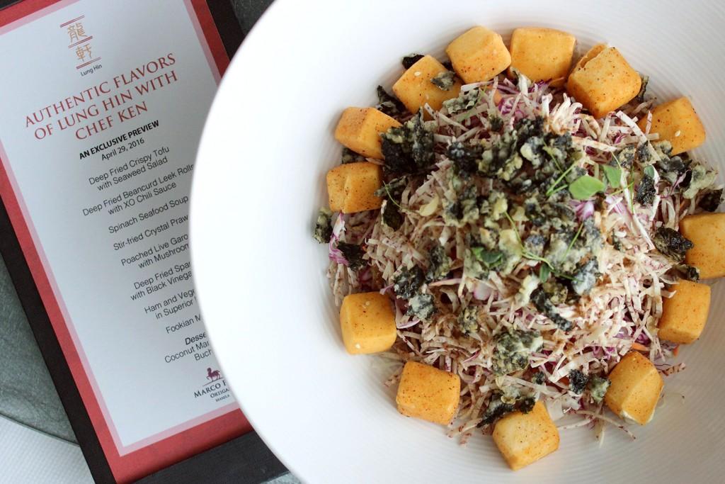 Crispy tofu with seaweed salad. Photo courtesy of Lung Hin
