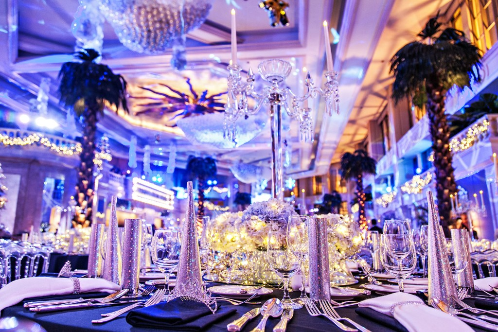 The iconic lobby of The Peninsula Manila all dressed up for the grand New Year's Eve gala
