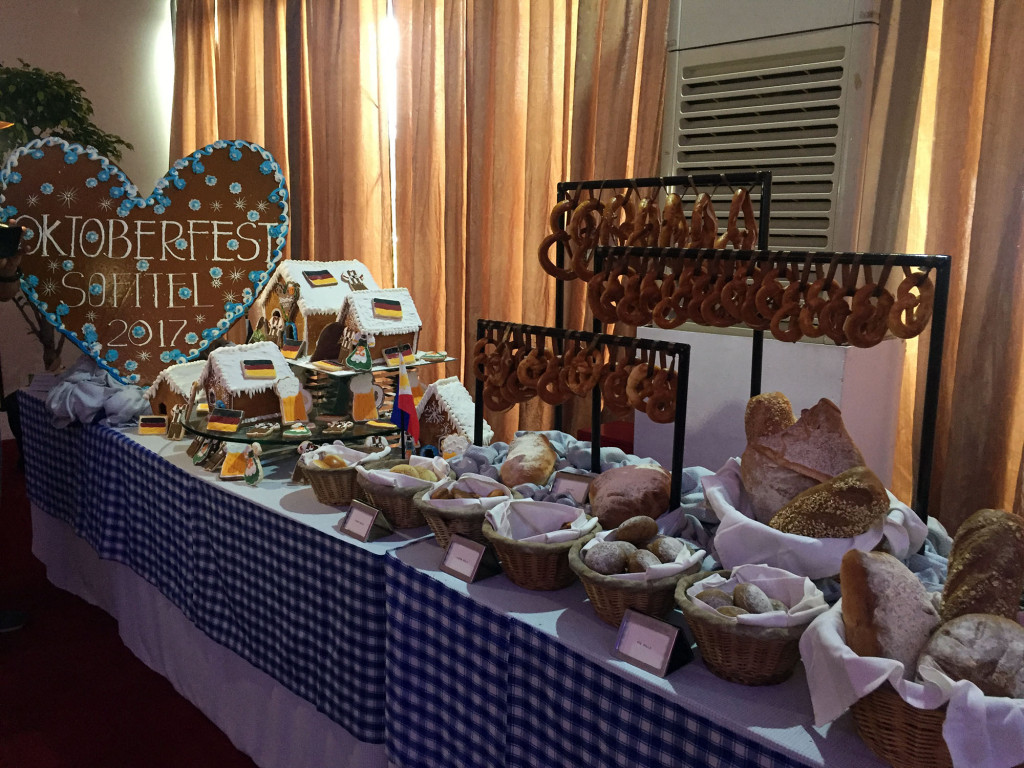 Bread station, Oktoberfest themed gingerbread house, and more pretzels!